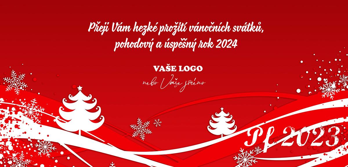 Červená novoročenka se zimní krajinou o Vánocích.