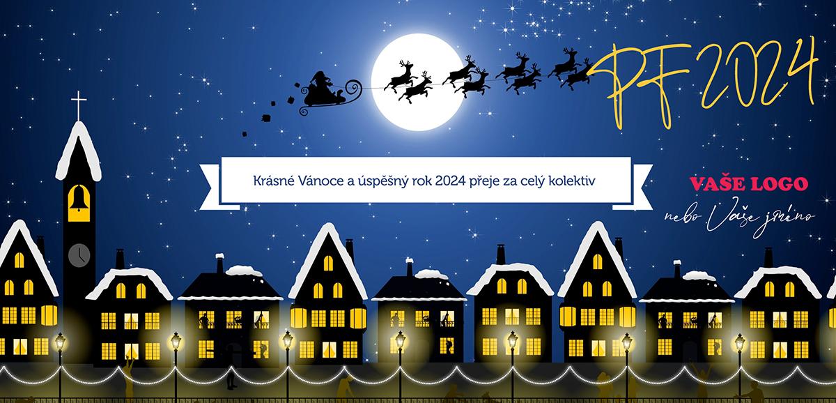 Vtipná firemní novoročenka s vánočním Santa Clausem rozvážejícím dárky nad městem.