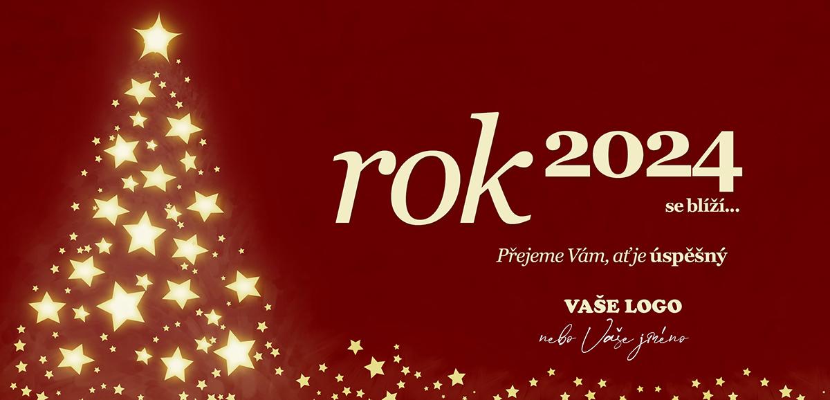 Tradiční novoročenka s vánočním stromkem složeným ze zářících hvězd na červeném pozadí.
