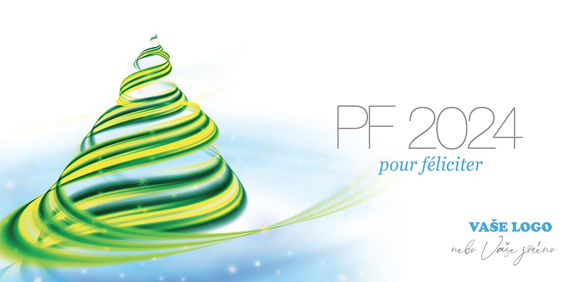 Moderní novoroční přání spojující tradici vánočního stromečku s nevšedním vkusným designem.