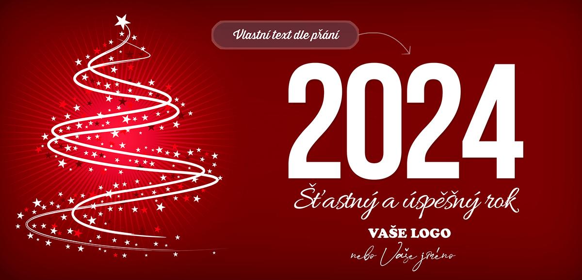 Symbolická silueta vánočního stromku ozdobená hvězdami na červeném pozadí.