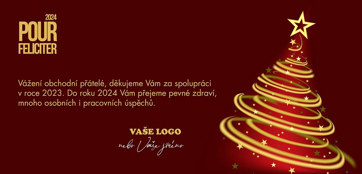 Vkusně načrtnutý, rotující vánoční stromek ve zlatočerveném provedení.