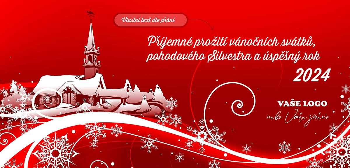 Tradiční vánoční přání se zasněženou pohádkovou vesničkou.