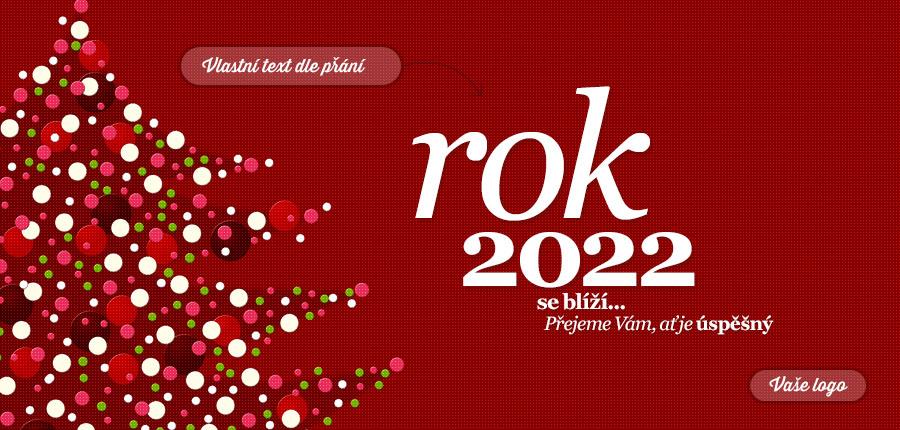 Vánoční stromek vykreslený z bublinek strukturovaném červeném pozadí novoročenky.