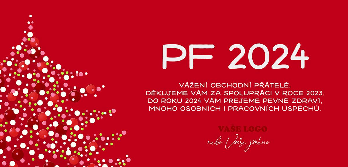 Různobarevnými puntíky vykreslený vánoční stromek s výrazně červeným pozadím novoročenky.