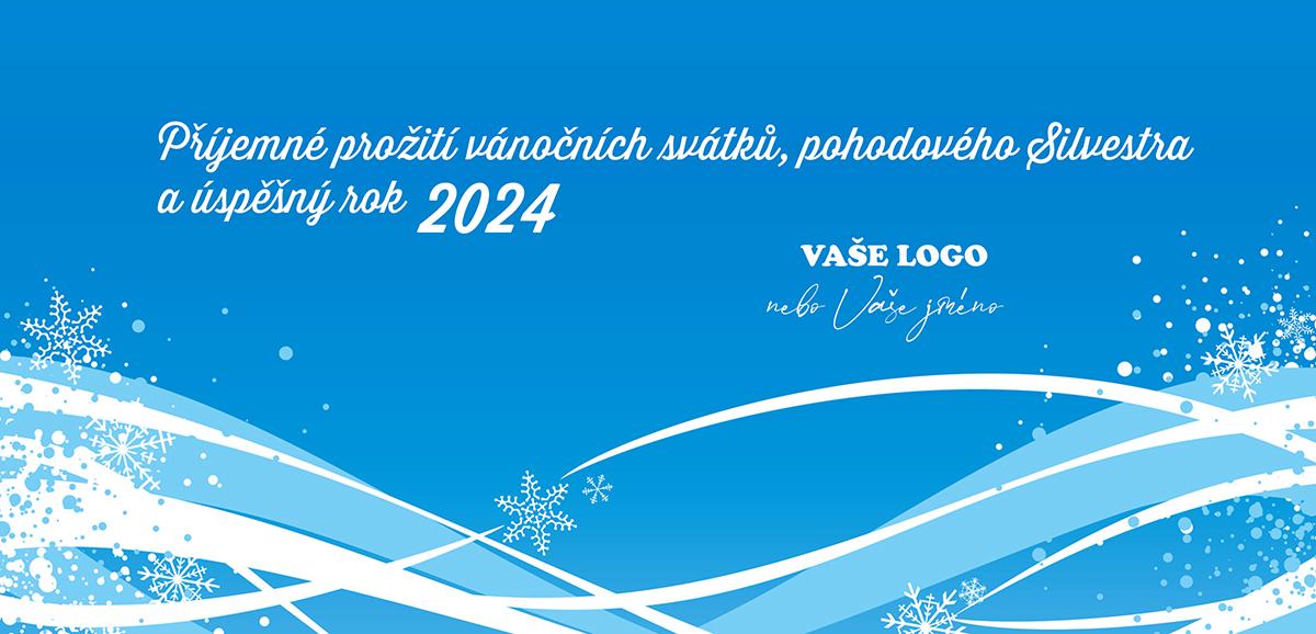 Modré vánoční přání s příjemně zimní atmosférou.