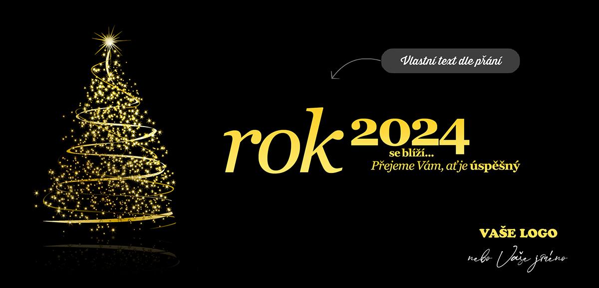 Černožluté barevné provedení siluety rozsvíceného vánočního stromečku zářícího do tmy.