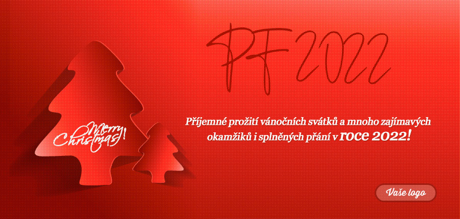 Malý a velký stromek na strukturovaném červeném pozadí vytváří nevánočně vánoční přání