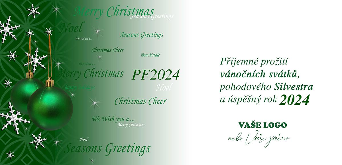 Zelenobílá kombinace vánočních ozdob a třpytících se odlesků tvoří multijazyčné PFko.