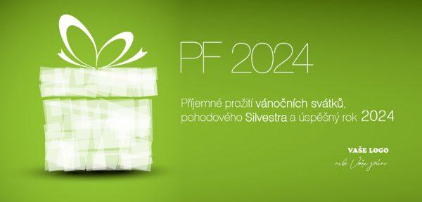 Dárek na zeleném pozadí novoročenky slibuje překvapení nejen na Vánoce.
