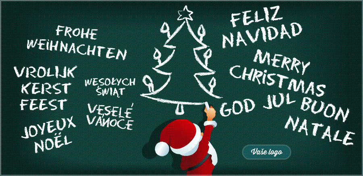 Veselé vánoční přání Santy kreslícího vánoční stromeček spolu s přáními v různých jazycích.
