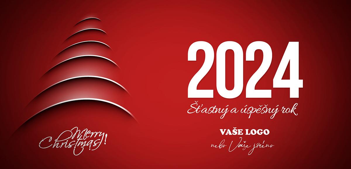 Silueta vánočního stromu prostupující červeným pozadím na moderním vánočním přání.