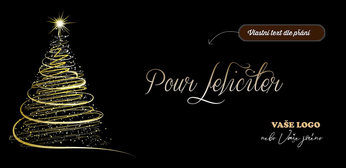Kouzlo kontrastu a zdánlivě chaotických čar ukazuje zlatočerná novoročenka s rozzářeným vánočním stromkem.