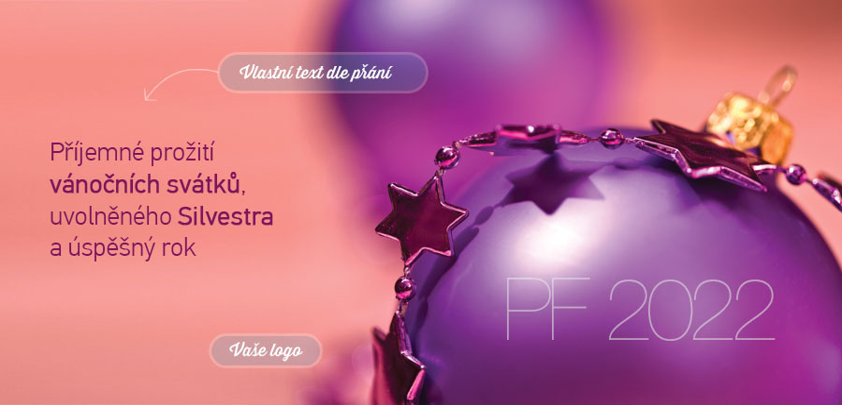 Milovníkům fialových vánočních ozdob je šitá na míru novoročenka s detailem vánočního řetězu s hvězdami, jenž lehce dopadá na jednoduchou baňku ve stejné barvě