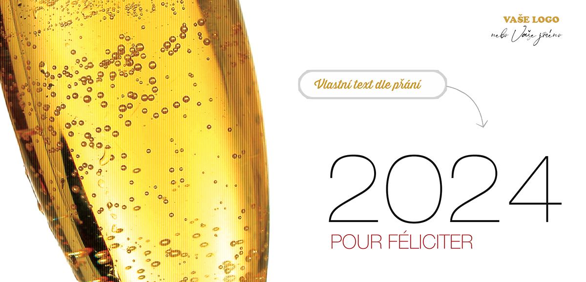 Šampaňské nejen na novoročence znamená pohodu, popřejte ji všem, které máte rádi, novoročenky jsou tu od toho.