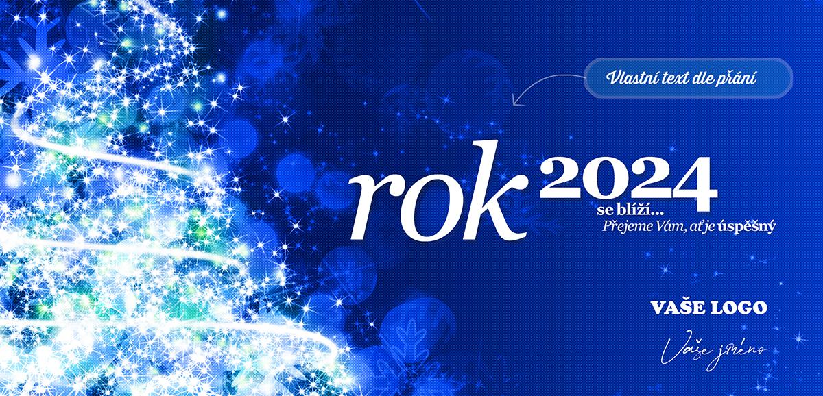 Bohatě nazdobený bíle rozzářený vánoční stromek spolu se efektně strukturovaným pozadím, vytváří luxusní firemní i soukromou novoročenku, kterou jasně dáte najevo, že si sváteční atmosféry i obdarovaných vážíte.