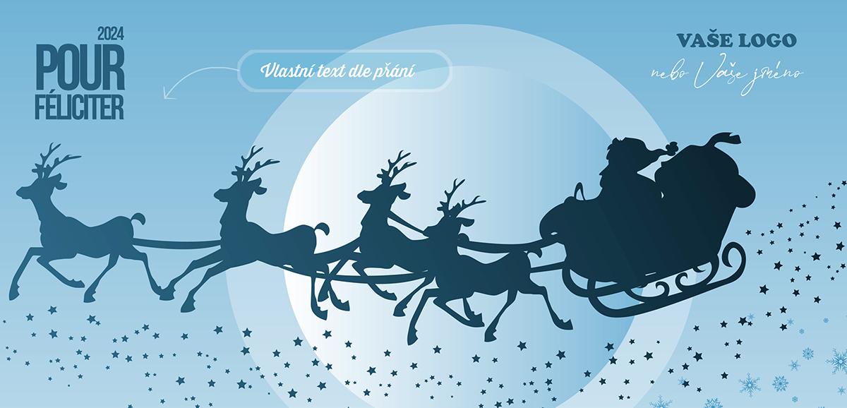 Zajímavá stínohra Santova spřežení na světlemodré obloze je klasické vánoční přání v mnohem působivějším podání, které osvěží vánoční atmosféru.