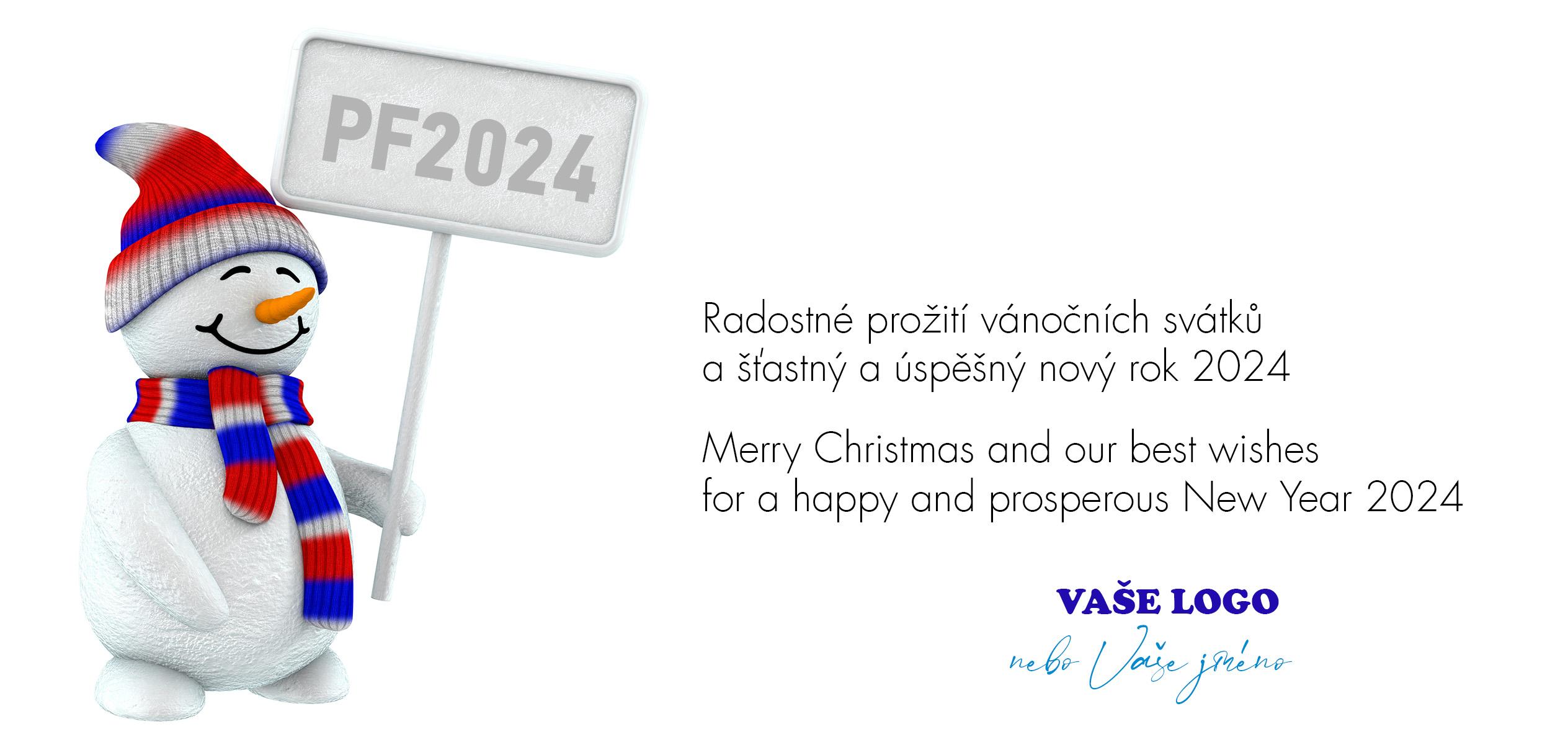 Veselý sněhulák s duhovou čepicí a šálou držící silniční ceduli s novoročenkou pro nadcházející rok potěší všechny, co mají rádi roztomilá vánoční přání s vtipem.