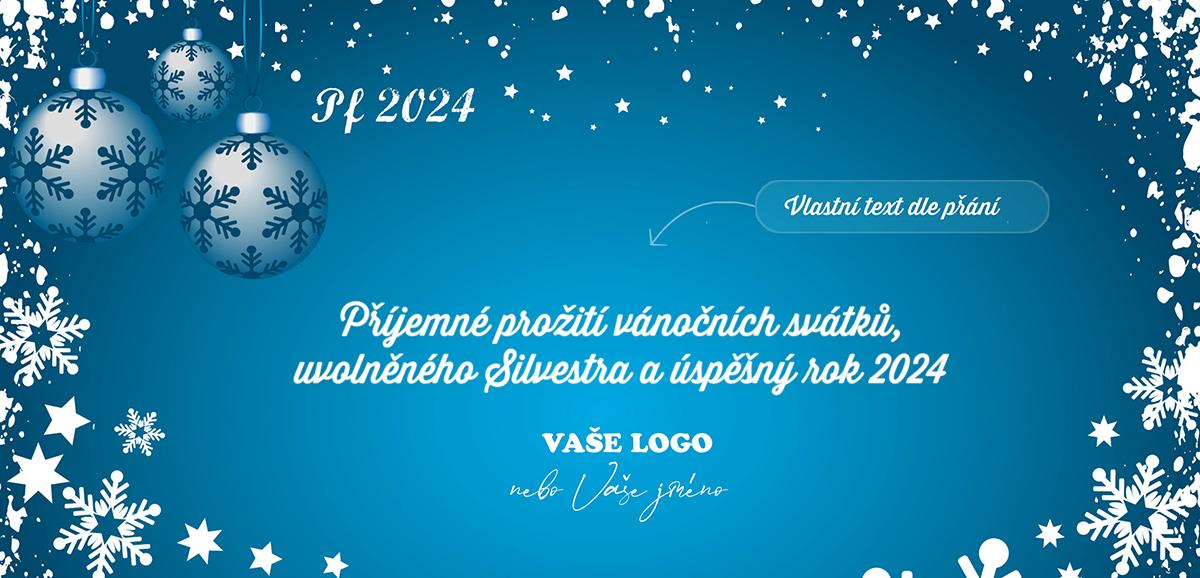 Novoroční přání s vánočními ozdobami v zasněženém okně sněhovými vločkami.