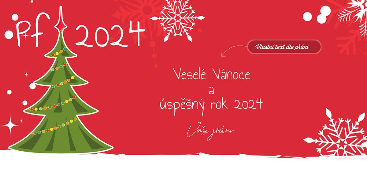 Kreslená novoročenka s vánočním stromečkem v retro stylu s bílými vločkami na červeném pozadí.