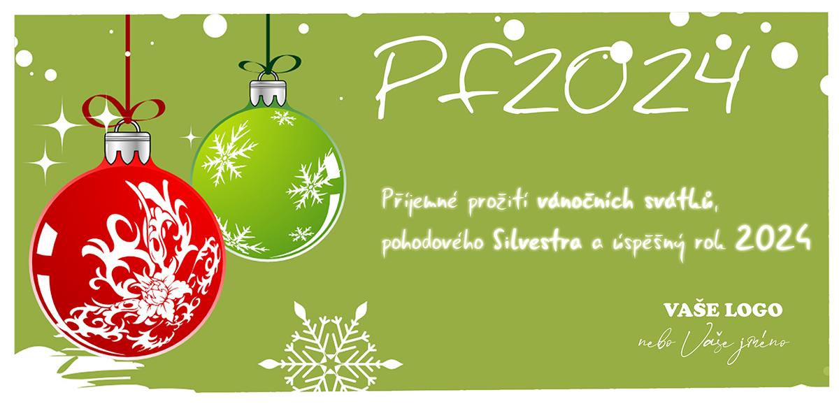 Kreslená novoročenka s lesknoucími se vánočními baňkami v retro stylu na zeleném pozadí.
