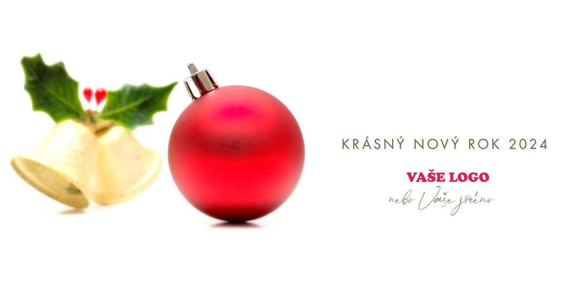 Zlatý vánoční zvonek a červená baňka jemně naznačují blížící se sváteční čas.