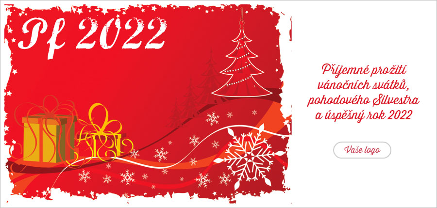 Zlaté dárečky, stromeček i sníh - vše co patří svátkům v jednom vánočním přání na červeném pozadí.