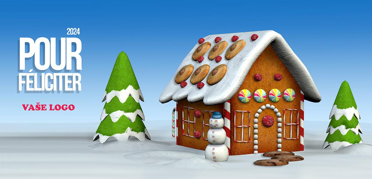 Zimní perníková chaloupka se sněhulákem a dvěma stromy vyzdobí každé vánoční přání.