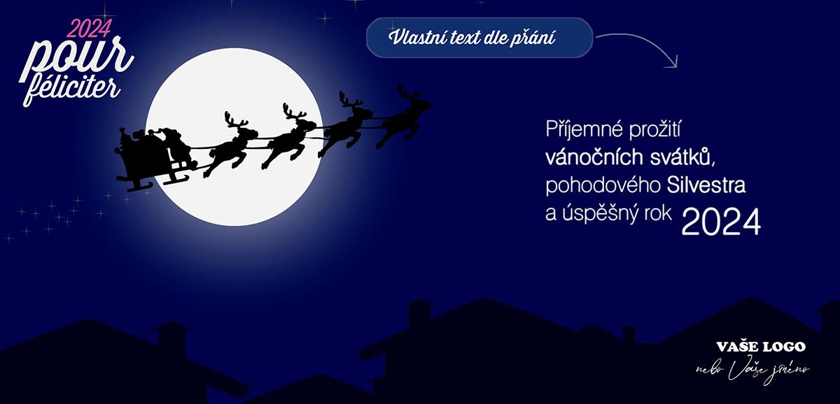 Stínohra noční jízdy Santy se spřežením v záři měsíce probudí dítě v dospělých, díky novoročence.