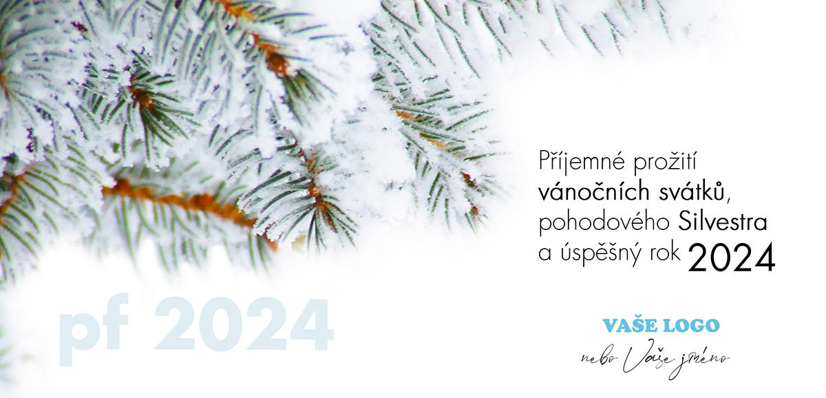 Zasněžená větvička vyvolává představy pohodového Silvestra, spojte s ní firemní novoročenky.