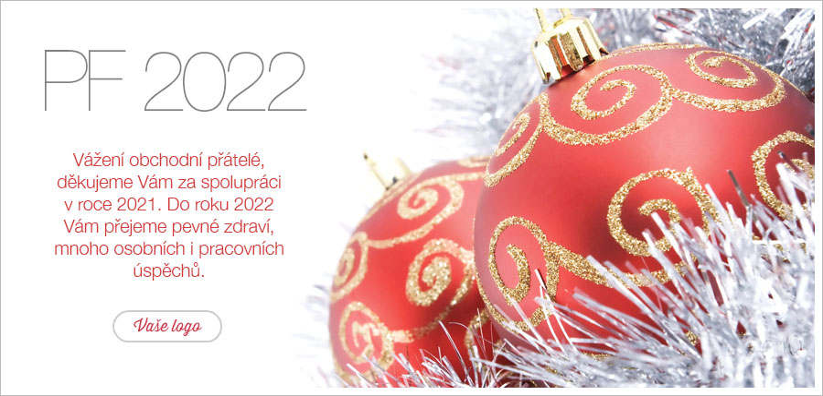 Vánočné zátiší se zlatočervenými baňkami položenými na stříbrný řetěz, je tradiční pro vánoční přání.