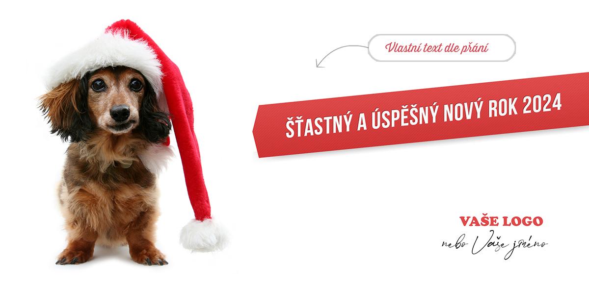 Roztomilé vánoční přání s jezevčíkem v Santově čepici zvedne náladu všem blízkým i spolupracovníkům.