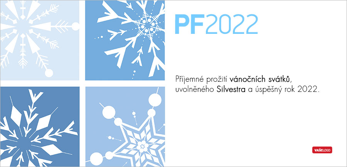 Zimní novoročenka s různě namalovanými sněhovými vločkami ve čtyřech odstínech modrého pozadí.
