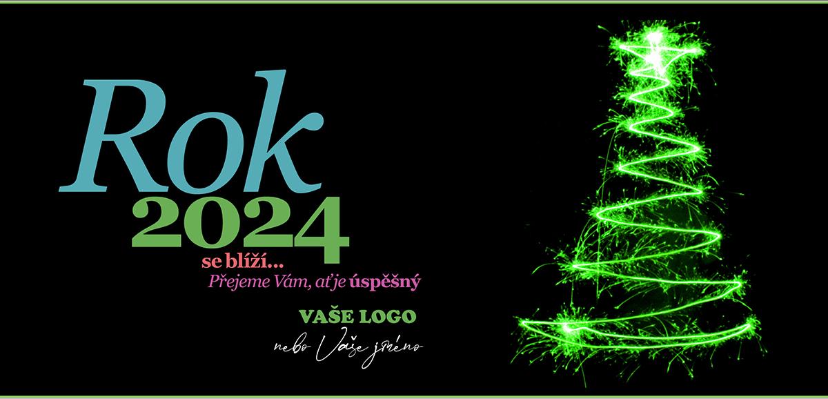 Tradiční novoroční přání v moderní promění zelený stromek z prskavek na černém pozadí.