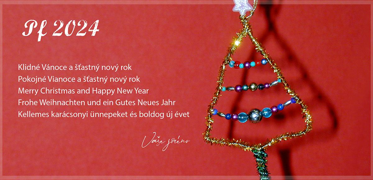 Nevšední vánoční stromek v podobě vyrobené vánoční ozdoby z korálek, ukažte formou letošní novoročenky.