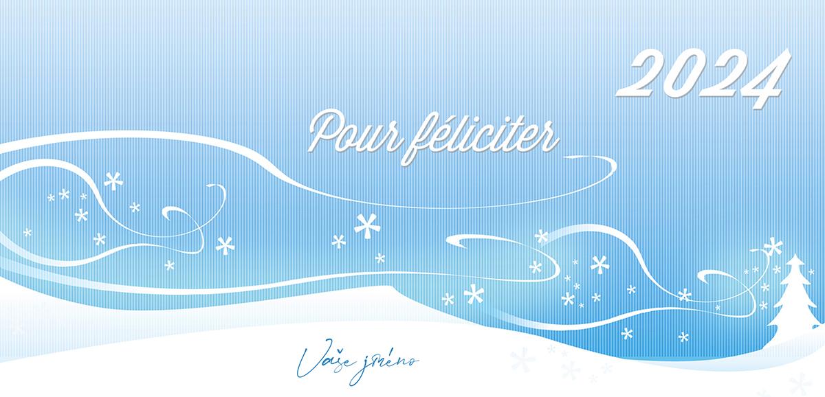 Pohádková zimní krajina s kontrastně strukturovaným pozadím pohladí na duši i jako novoroční přání.
