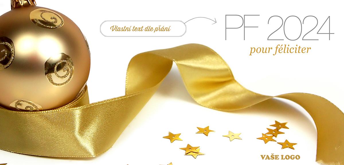 Zlaté Vánoce navodí přání s krásnou zlatou baňkou položenou na zlaté stuze spolu s rozsypanými hvězdami.