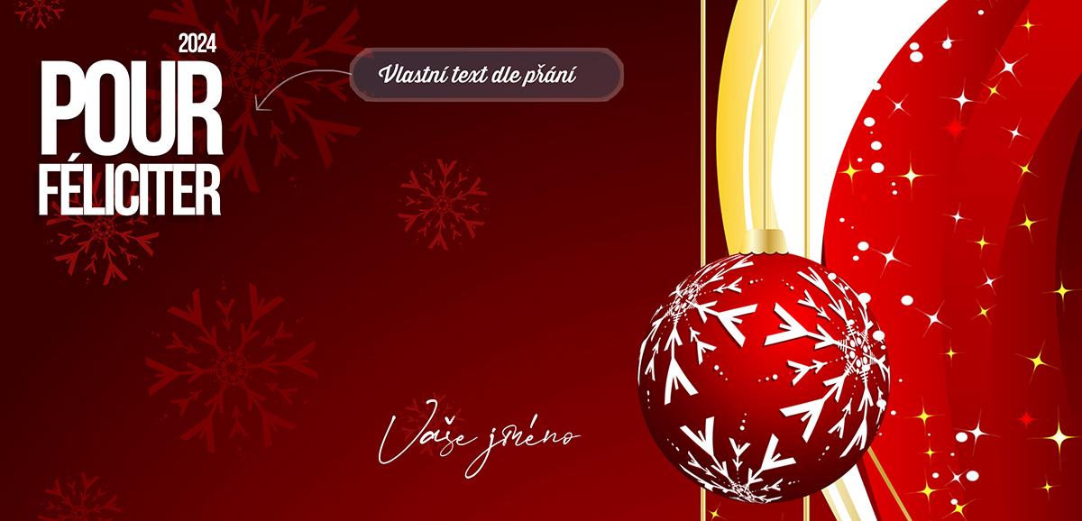 Vánoční ozdoba s ručně malovanou vločkou, která se odráží také na červeném pozadí novoročenky.
