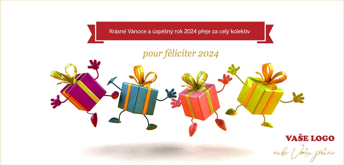 Vánoční přání s vesele tančícími barevnými dárečky nakazí všechny dobrou náladou.