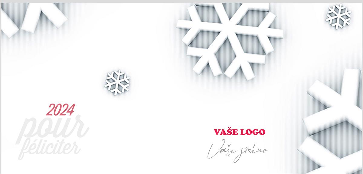 Novoroční přání s dokonale tvarovanými sněhovými vločkami různých velikostí vystupující z bílého podkladu.