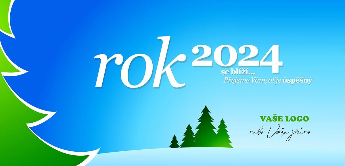 Výrazně barevná novoročenka se zimní krajinou zelenými stromy a modrým strukturovaným pozadím.