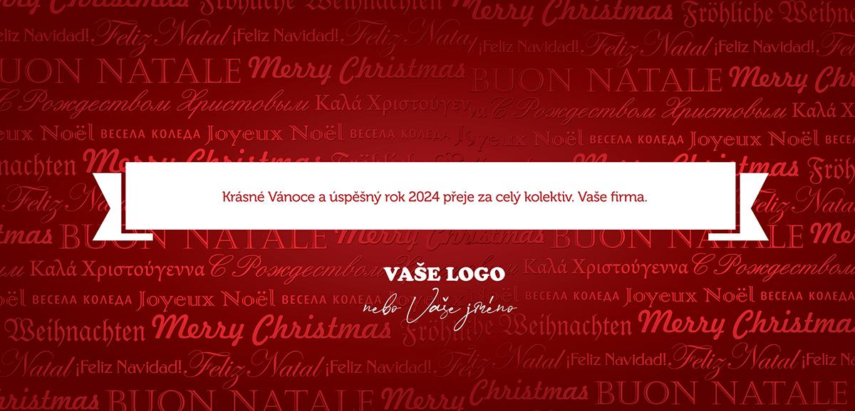 Nevšední, zářivě červená, firemní novoročenka, jejíž pozadí tvoří vánoční přání v mnoha jazycích.