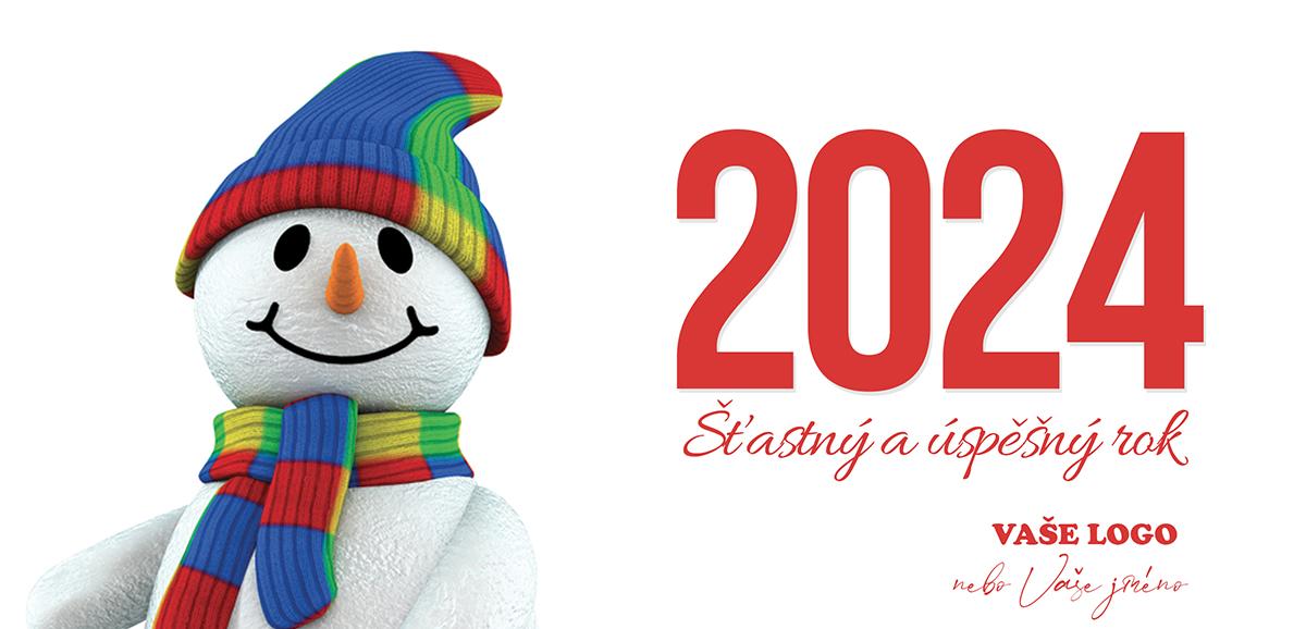 Hlava veselého sněhuláka s duhovou čepicí a šálou vyladí novoročenky v těch nejlepších barvách.