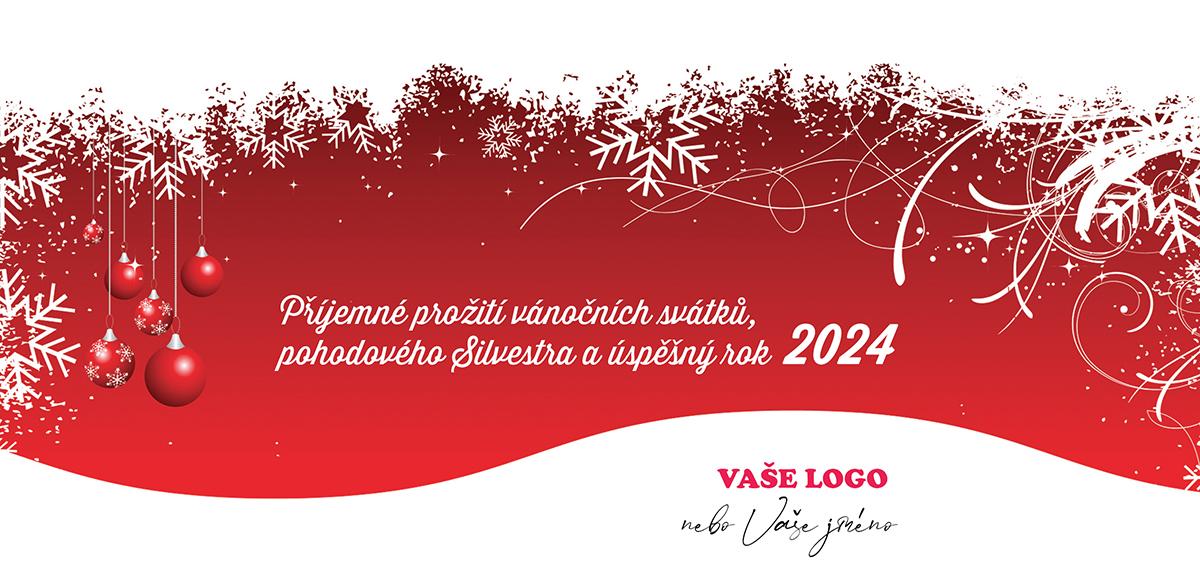 Vánoční přání se s výhledem na zasněženou krajinu s kontrastně červeným pozadím a ozdobami.
