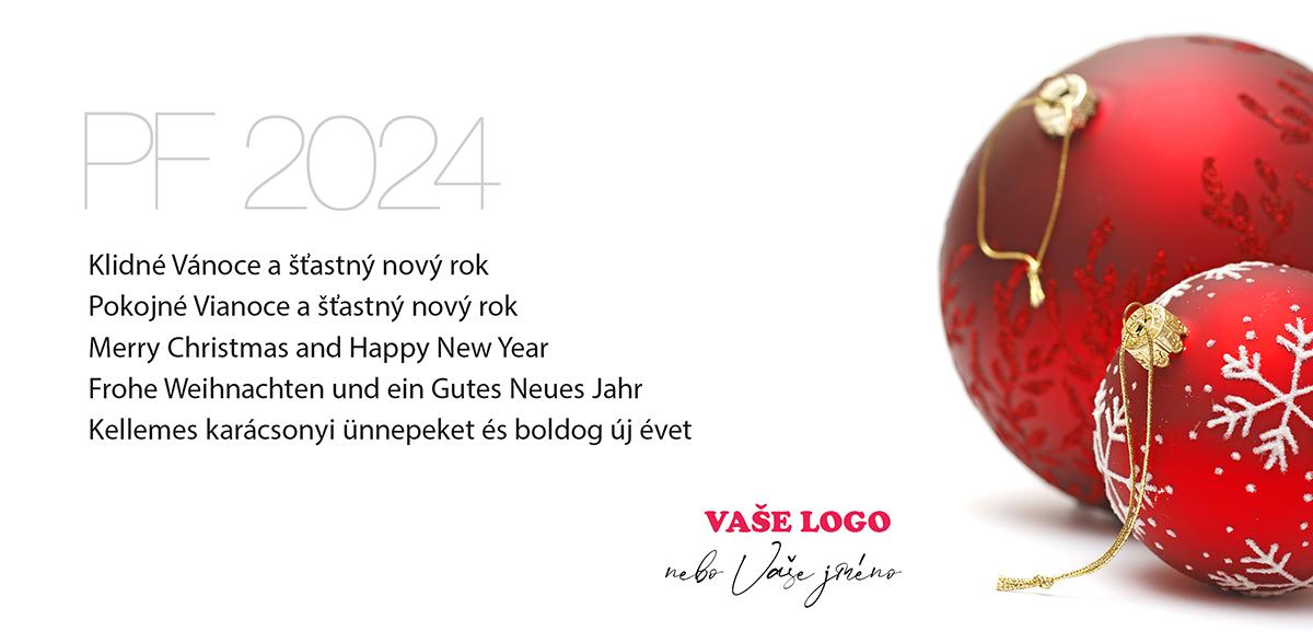 Vánoční přání s dvěma červenými baňkami v retro stylu krásně dekorované zimní tematikou.