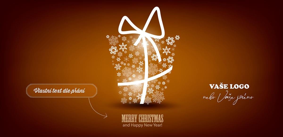 Vánoční přání s osvětleným vánočním dárkem ze sněhových vloček na hnědém pozadí.