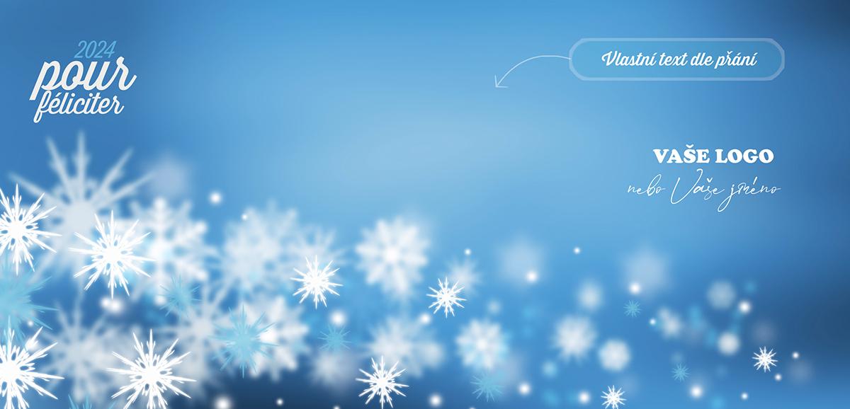 Jemná zimní novoročenka s třpytícími se vločkami rozplývajícími se do modrého pozadí.
