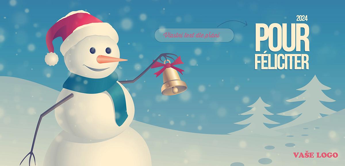 Vánoční přání se sněhulákem zvonícím na zvoneček v zimní krajině v dokonalém retro stylu.