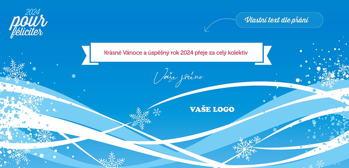Atmosférická zimní novoročenka s hravou náladou naladí na zimní radovánky na sněhu.