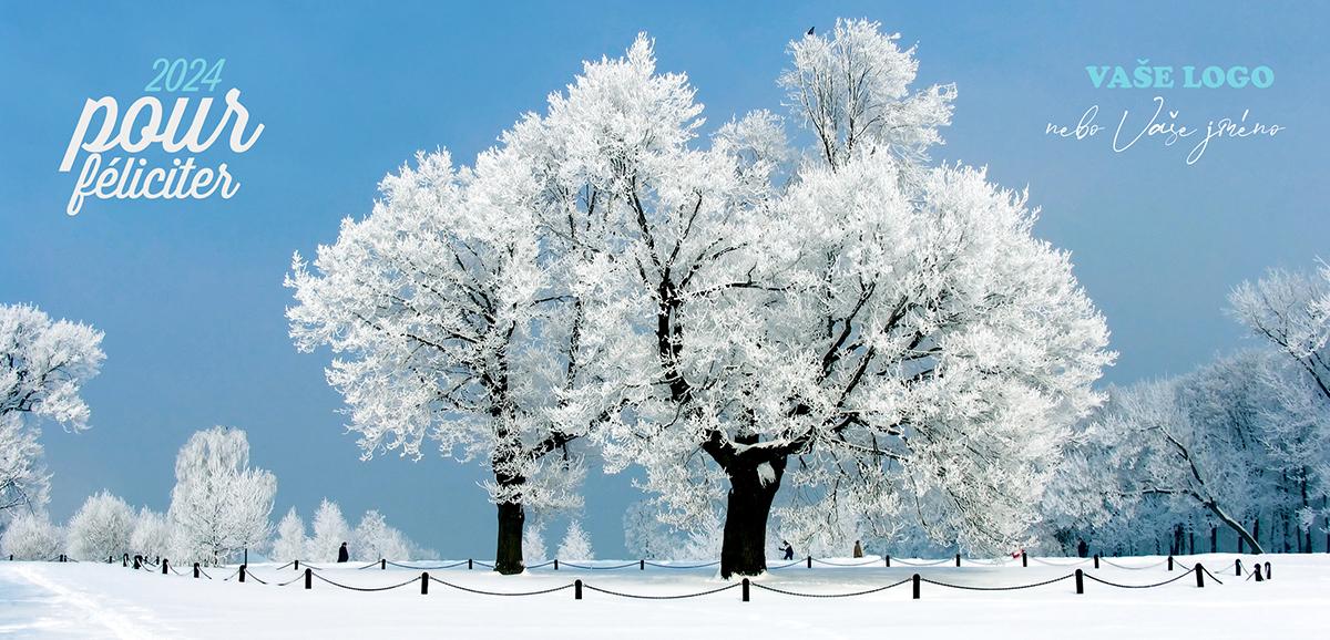 Přírodní krásu zachycuje novoročenka se zasněženou krajinou a stromy vyzdobenými jinovatkou.